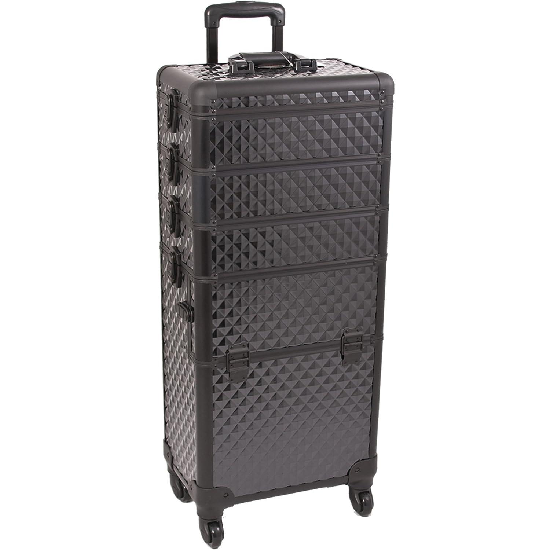 Sunrise I3361 Pro 4 Wheels 4 in 1 Rolling Makeup Cosmetic Train Case Organizer with 3 Trays, Diamond Black I3361DMAB