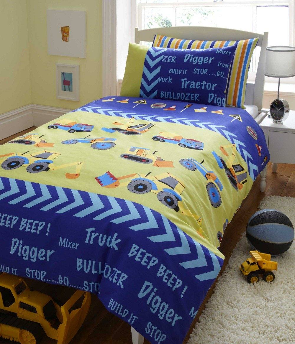 Beautiful DIGGERS TRACTOR KIDS REVERSIBLE DOUBLE BED DUVET COVER QUILT  MB39