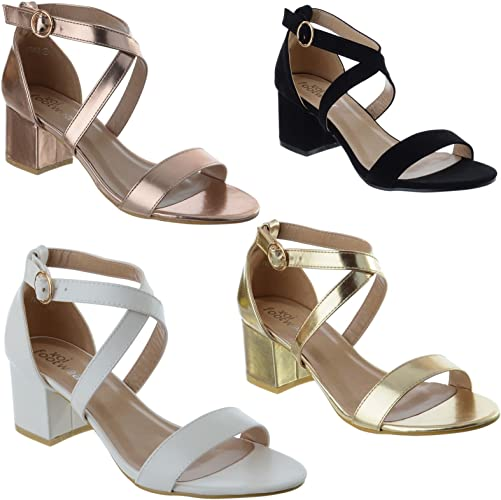 NEW LADIES WOMENS LOW BLOCK HEEL ANKLE STRAP OPEN PEEP TOE SANDALS SHOES SIZE