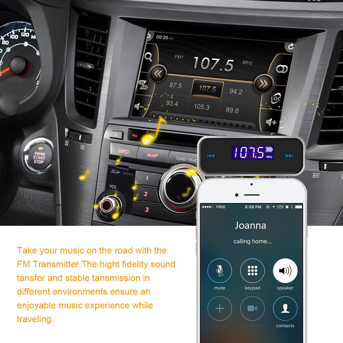 Mini Drahtlos FM Transmitter Sender UKW Handy Wireless Auto AUX-Adapter mit Integriertem Aux Port Auto Radio Audio Transmitter Empf/änger Handy Autoradio Transmitter