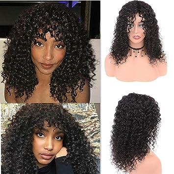 Cute Fairy Brazilian Deep Curly Wigs Human Hair With Long Bangs Unprocessed Virgin Kinky Curly Human