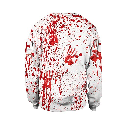 Women's Clothing Womens Halloween Blood Handprint Party Long Sleeve Pullover Blouse Sweatshirt