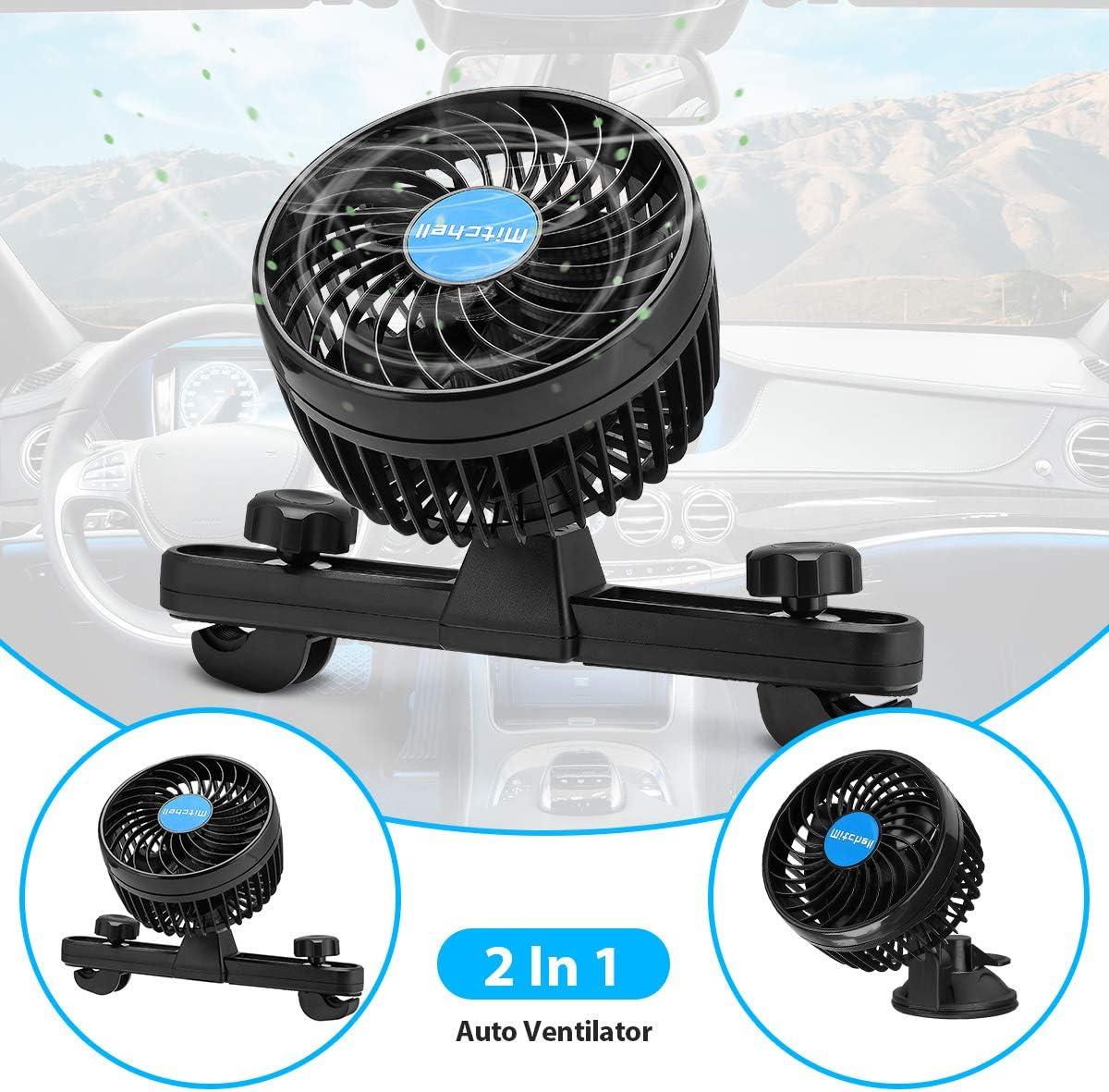 Mini ventilatore auto da 12 V con ventosa silenziosa regolabile per sedile posteriore nero