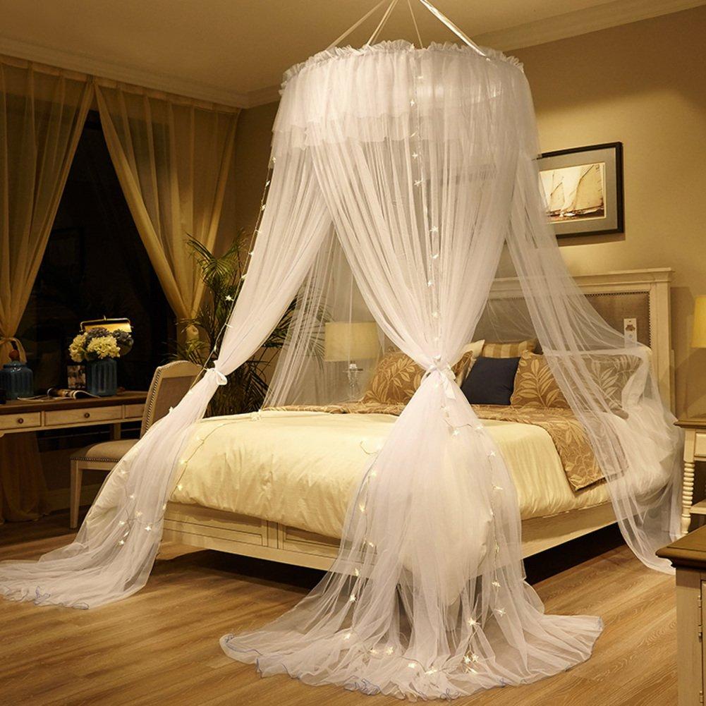 Princess palace dôme moustiquaire ,Anti-moustiques Crochet Au plafond Double Accueil lit baldaquin rideaux moustique-C Full-size JITRHGTUIHG