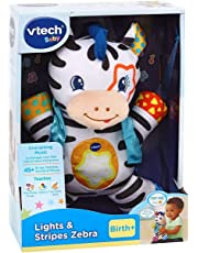 VTech Lights & Stripes Zebra Baby Toy | Baby Sensory Toy with Colours, Textures & Crinkle Sounds | Baby Musical Toy, Christmas Gifts for Babies 0, 6, 12 Months Boys & Girls