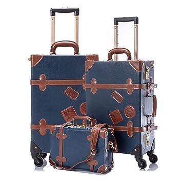 15a80fec2 Amazon.com | COTRUNKAGE 3 Piece Vintage Luggage Set TSA Lock Retro Trunk  (12