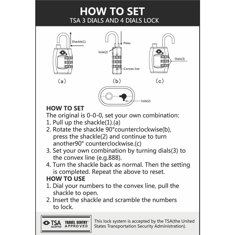 qobobo TSA Cadenas de Valise Avec Code /à Quatre Chiffres Modifiables Bagages Verrouillage//Bleu