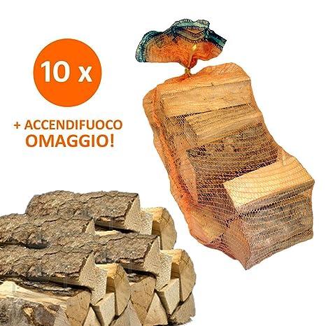10 Bolsas de 15 kg de leña 100% haya 150 kg Media Caña para chimenea
