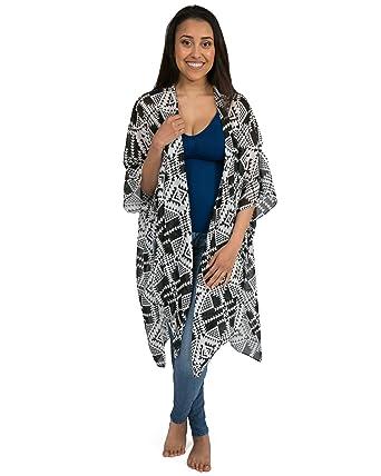 1e1d0ab2314ff Kindred Bravely Sheer Cardigan Nursing Wrap & Kimono (Black & White Geo  Print, One