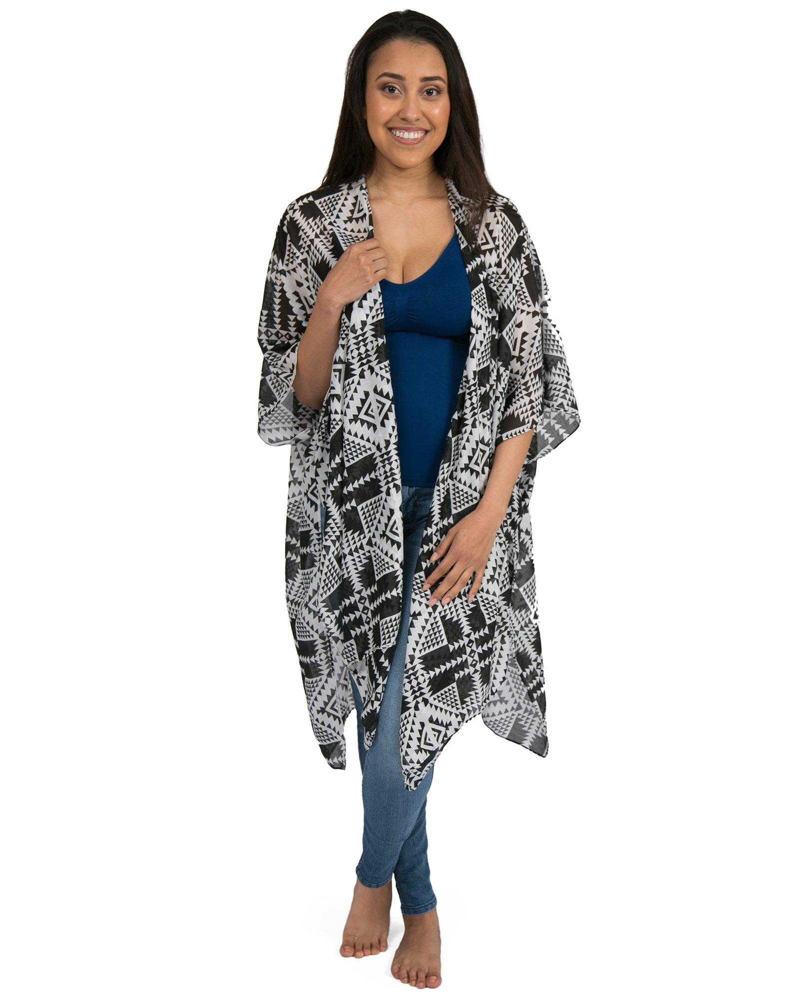 Kindred Bravely Sheer Cardigan Nursing Wrap & Kimono (Black & White Geo Print, One Size)
