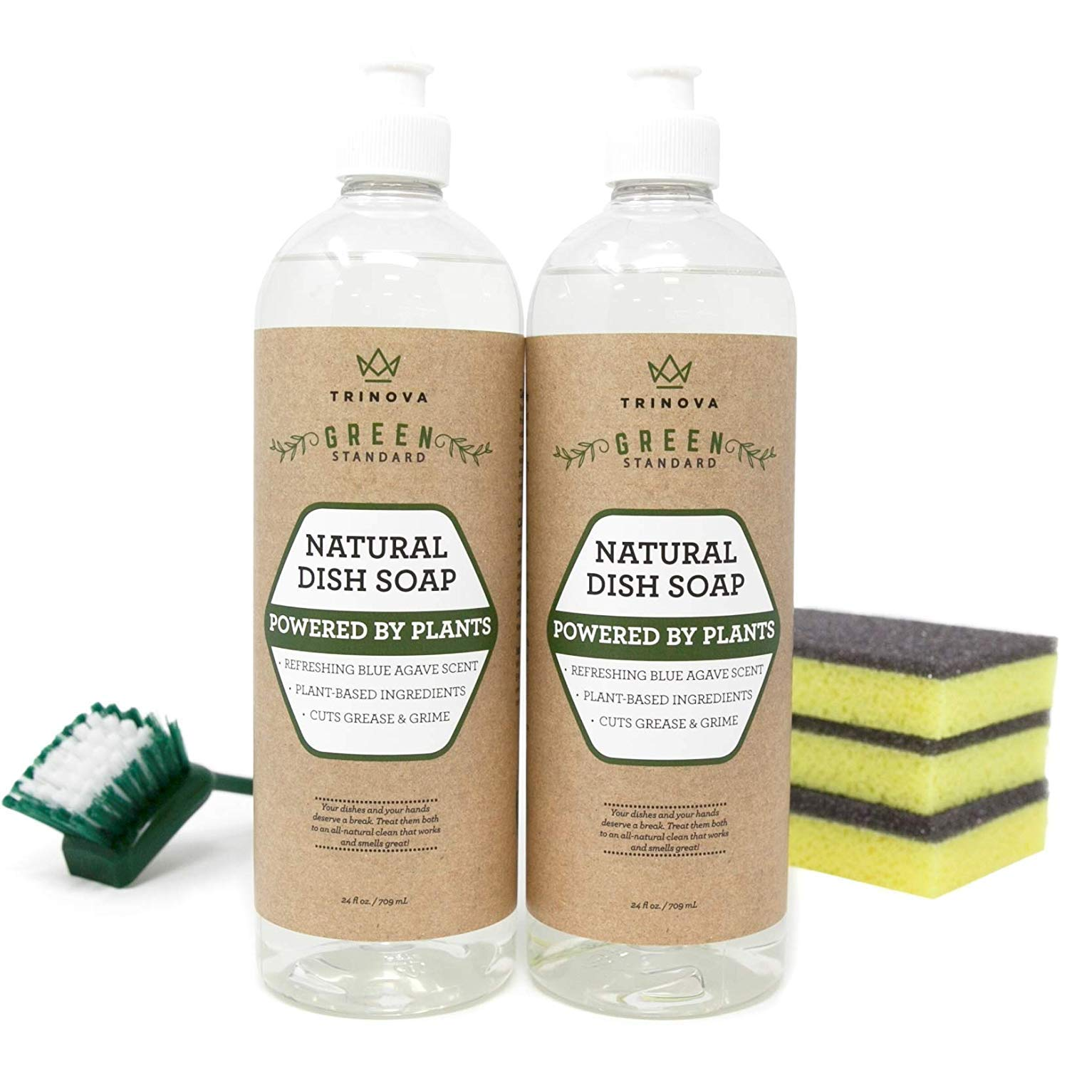 Natural Dish Soap Organic Formula - Comes with Sponge & Scrub Brush for Cleaning Dishes & Washing All Kitchen Items. Powerful & Eco Friendly Cleaner is Non Toxic. (2 Pack of 24 oz Bottles). TriNova.