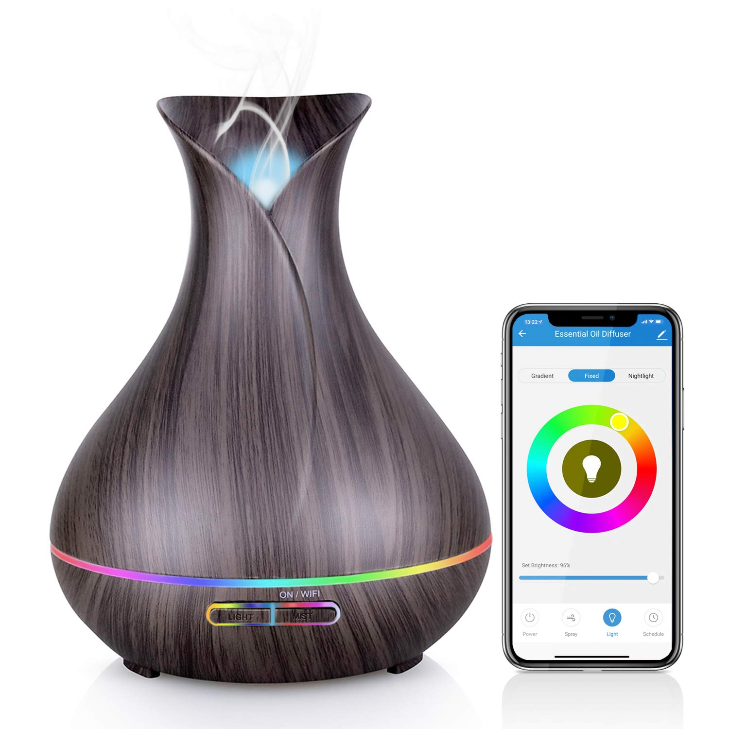 WiFi Essential Oil Diffuser, Maxcio 400ml Smart Aromatherapy Diffuser, Ultrasonic Humidifier with Colorful LED Lights, Smart Phone Remote Control, Alexa&Google Home Compatible, Timer/Schedule Setting by Maxcio