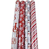 JAM Paper® Christmas Design Wrapping Paper - Wintry Christmas - 180 Sq Ft. - 4/pack