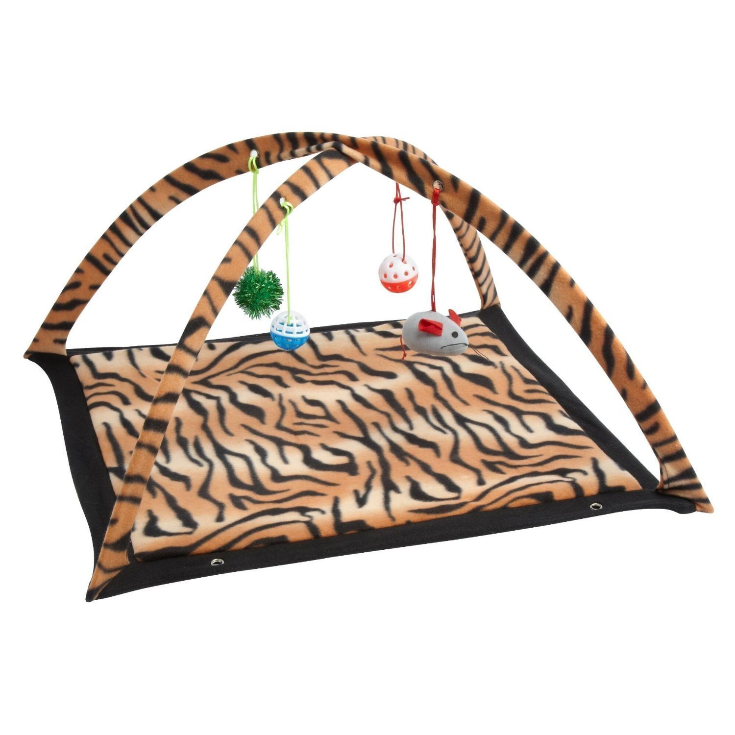 cheap Pet Pretty Love Leopard Stripe Cat Activity Center with Hanging Toy Balls, Mice Get Exercise Best Cat Toys