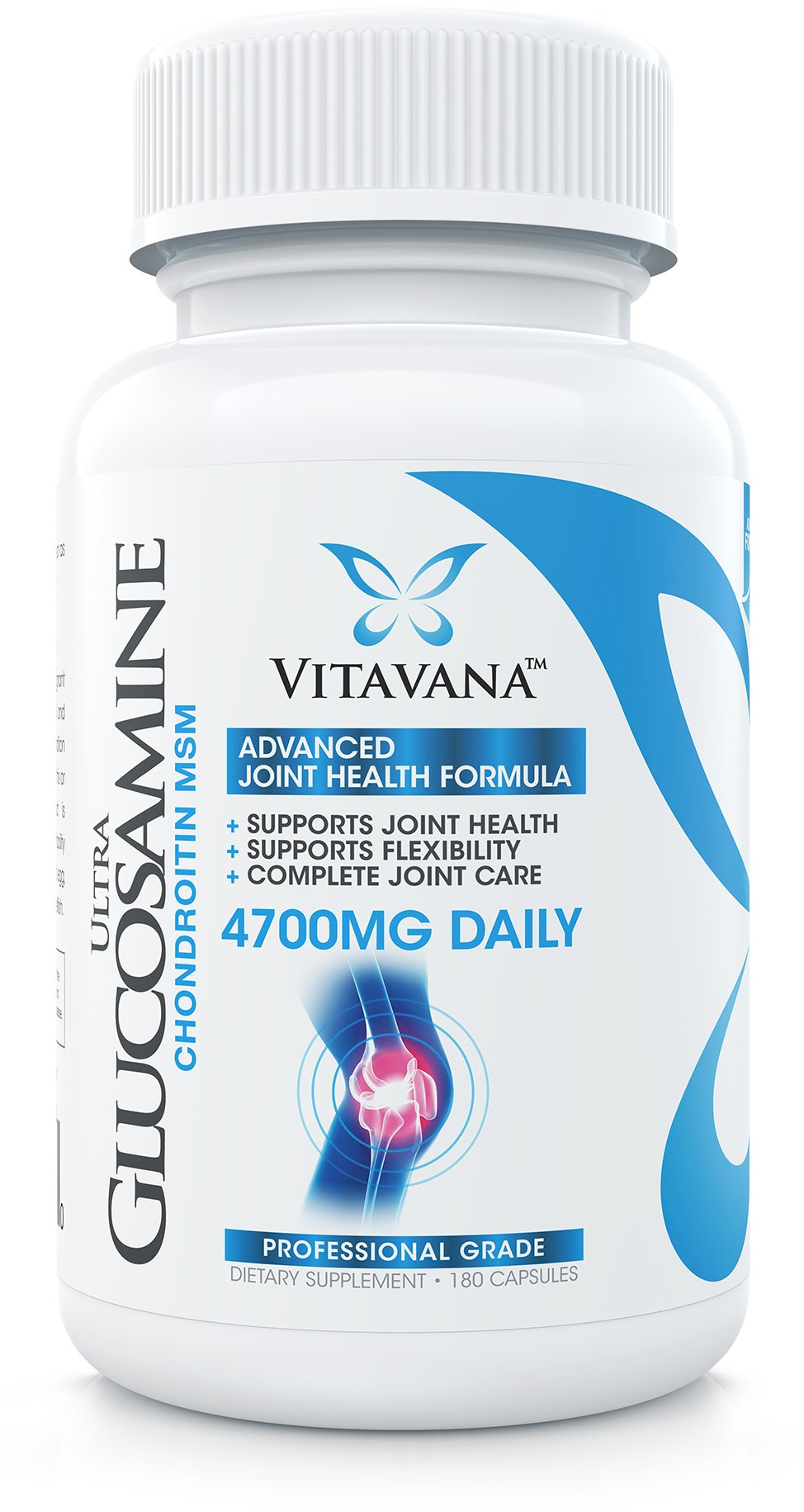Vitavana Glucosamine Chondroitin MSM :: 4700mg Daily (180 Capsules) :: Advanced Joint Supplement Supports Flexibility and Healthy Joints :: Complete Joint Care Formula (6-Bottles)