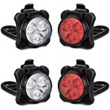 Akale Rechargeable Bike Lights Set, LED Bicycle Lights Front and Rear, 4 Light Mode Options, 650mah Lithium Battery, Bike Hea