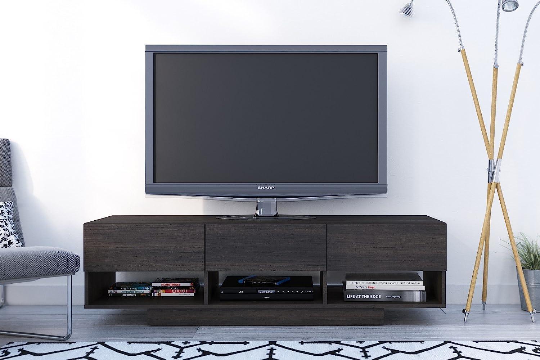 Amazon Com Nexera 105130 Rustik 3 Drawers Tv Stand 60 Ebony  # Meuble Tv Audio Video