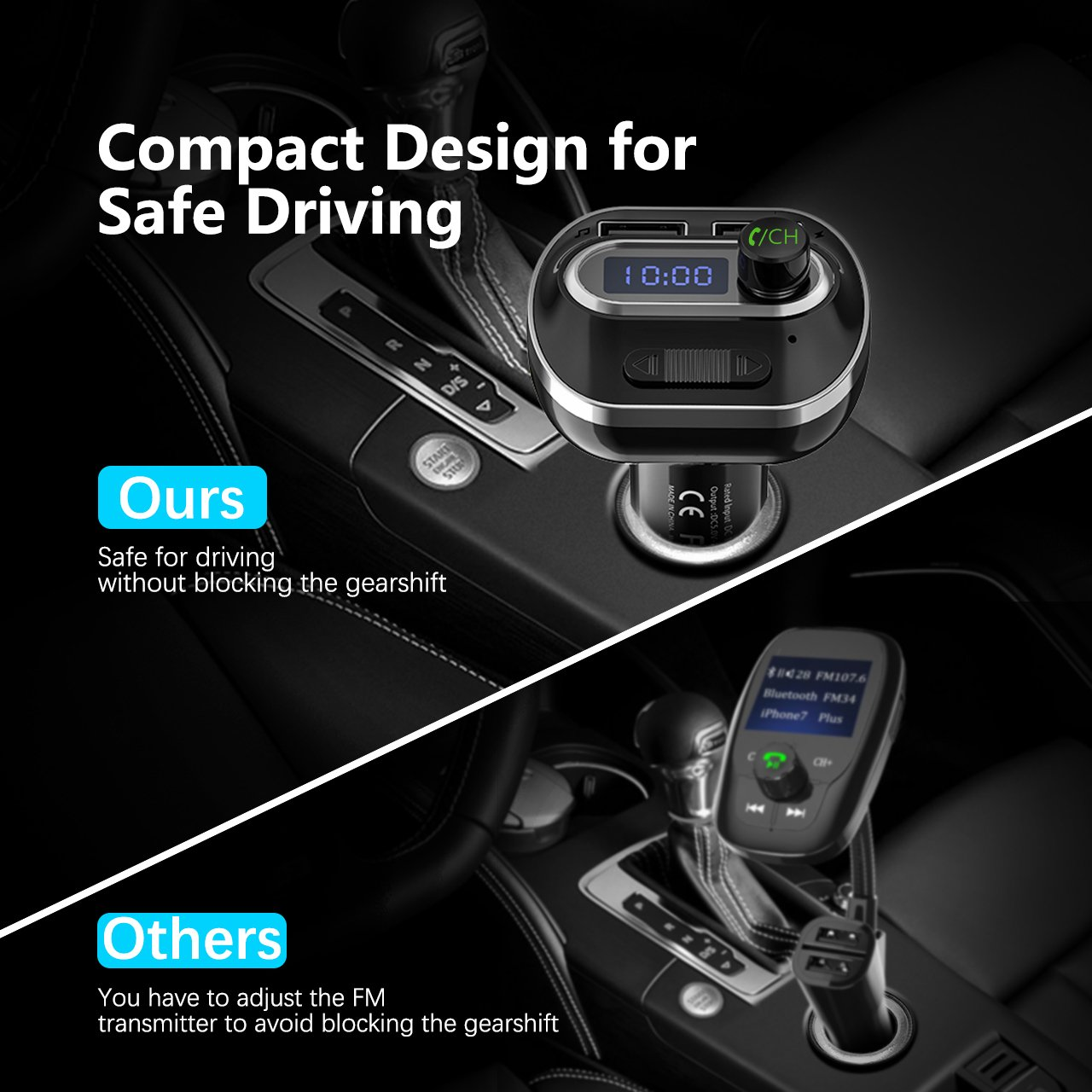 VicTsing (Upgraded Version) V4.1 Bluetooth FM Transmitter for Car, Wireless Radio Transmitter Adapter with Music Player Support Aux Output Input, TF Card and U-Disk, Hands Free and Dual USB Ports by VicTsing (Image #2)