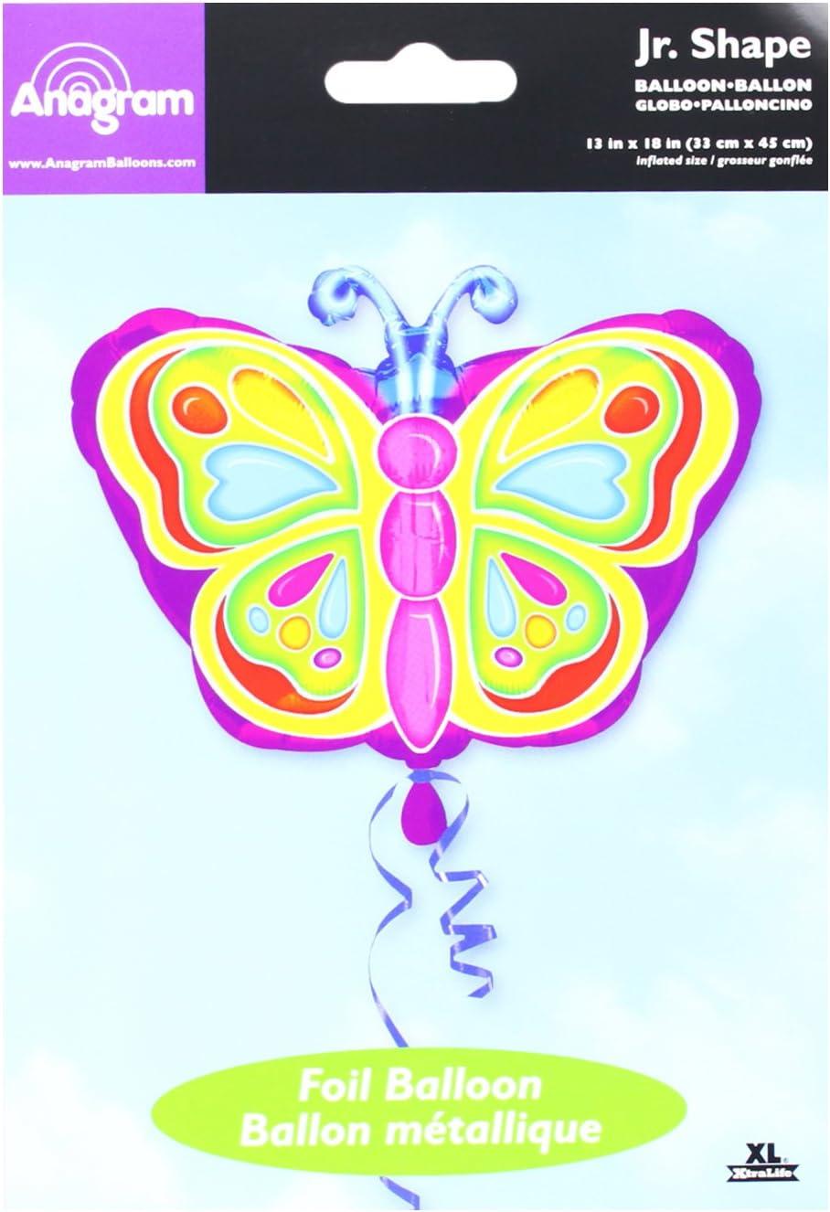 7A0725501 Multicolore Anagram Pallone Foil Juniorshape 18-45 cm Farfalla Bright Butterfly