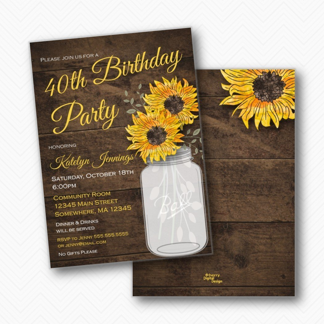 Amazon Rustic Sunflower 40th Birthday Party Invitations