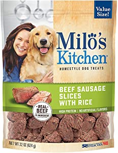 Milo's Kitchen Beef Sausage Slices with Rice Dog Treats