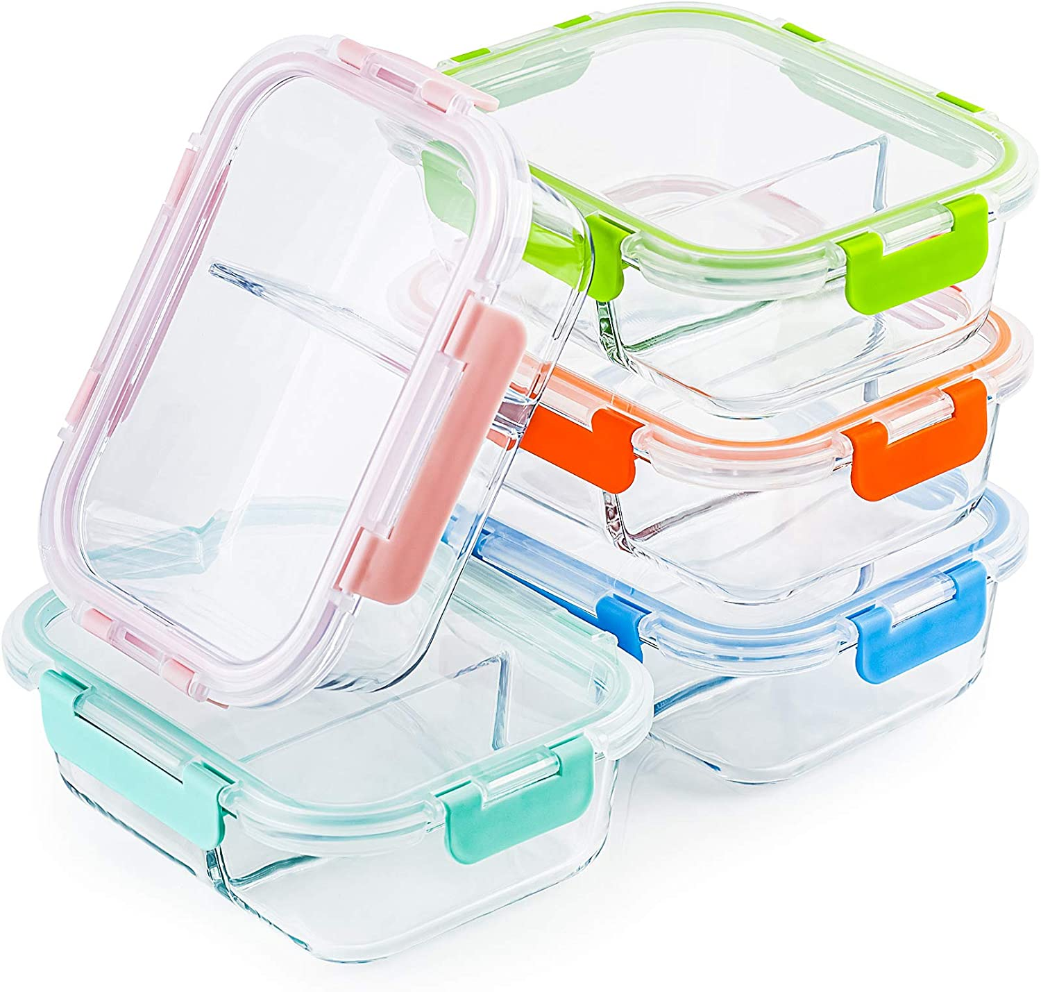 Glass Meal Prep Containers 2 Compartment Set, 5-Pack, 34oz, Glass Bento Boxes for Adults, Divided Glass Lunch Containers with Lids