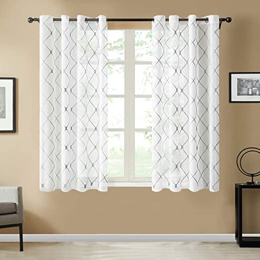Amazon Com Top Finel White Short Sheer Curtains 45 Inch Length Grey Embroidered Diamond Grommet Window Curtains For Living Room Bedroom 2 Panels Home Kitchen