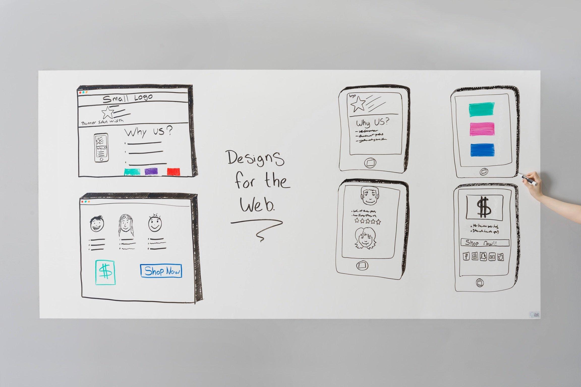 Think Board Premium Whiteboard Film, Peel and Stick, X-Large (White) (4'x8')