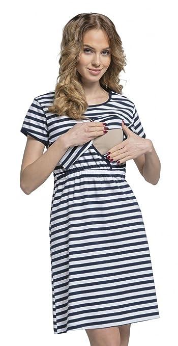 Para Mujer Camisón de Rayas Premamá de Embarazo y Lactancia.061p: Amazon.es: Ropa y accesorios