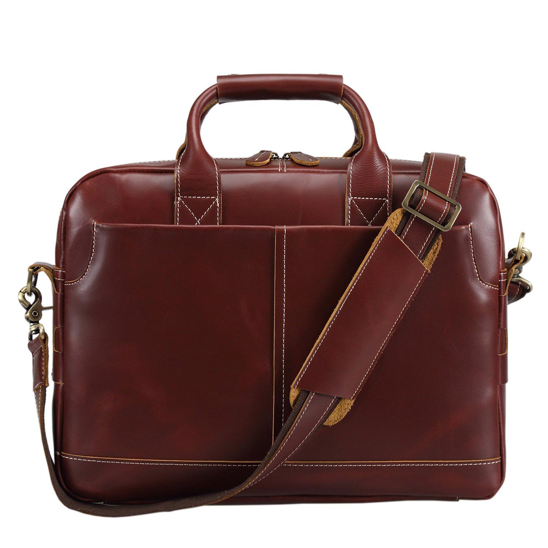 Texbo Genuine Full Grain Leather Mens 16 Inch Laptop Briefcase Messenger Bag Tote 3330343