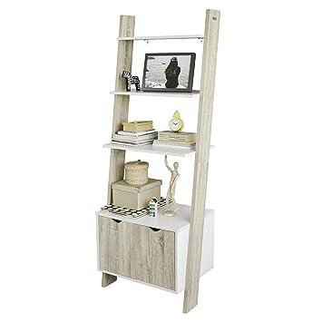 sobuy frg110 wn ladder shelf wall shelf bookcase storage display rh amazon co uk Metal Storage Cabinets Ladder Bookshelf