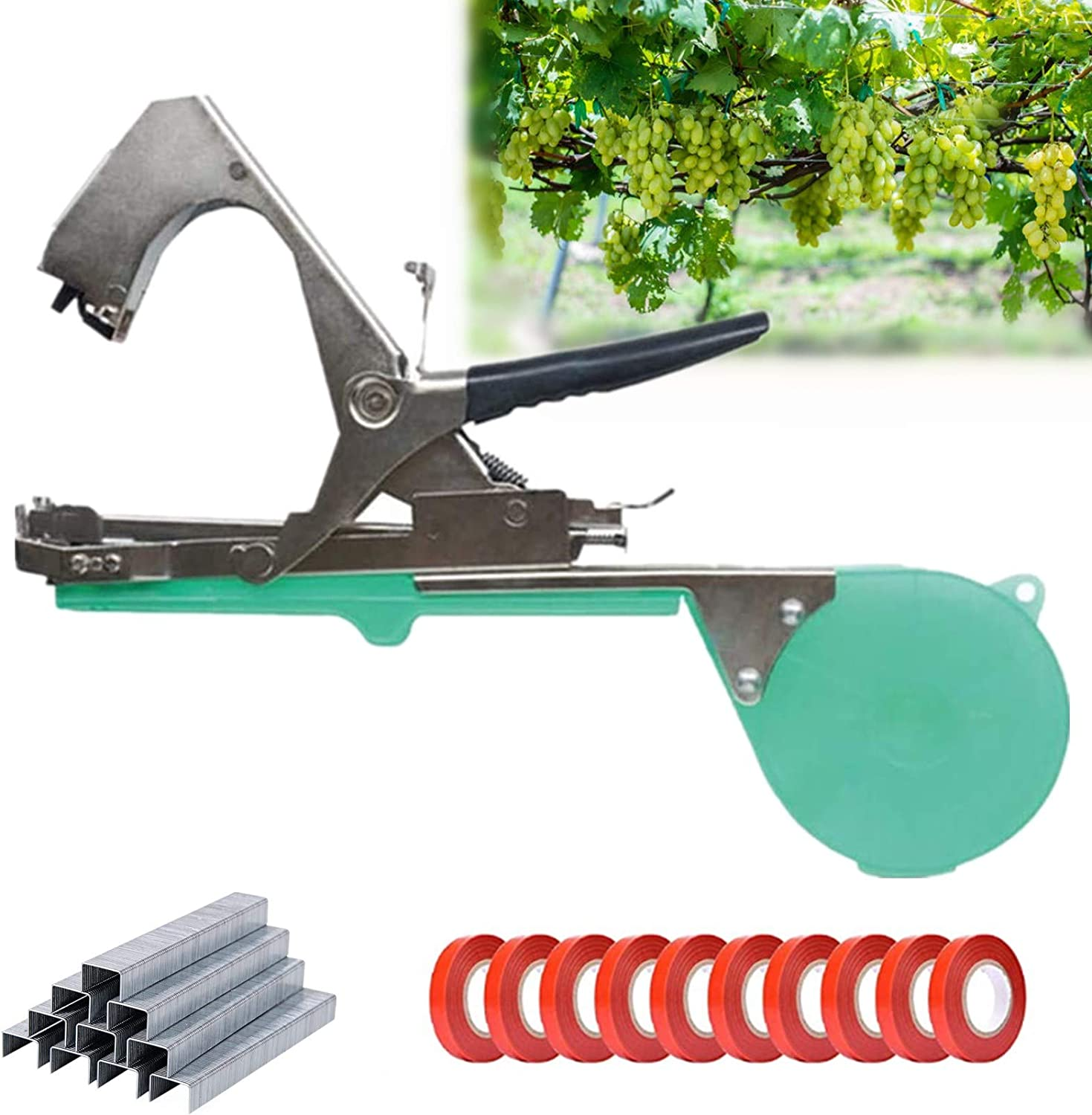 cdbz Plant Tying Machine,Hand Plant Tying Machine Agriculture Tool,Garden Plant Tool for Vineyard,Vine Tying Tape Plant Agriculture Tapetool Tapener with 10 Rolls Tape and a Box of Staples Set