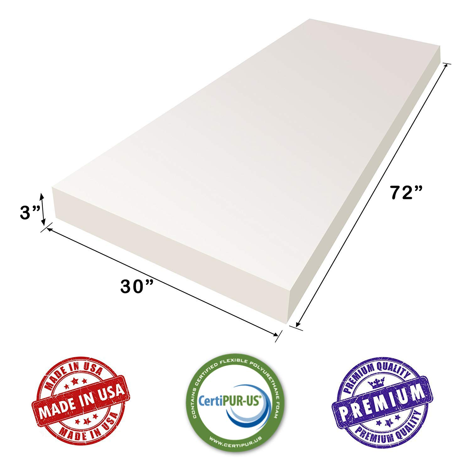 AK TRADING CO. 3'' H X 30'' W x 72''L Upholstery Foam Cushion CertiPUR-US Certified. (Seat Replacement, Upholstery Sheet, Foam Padding) by AK TRADING CO.