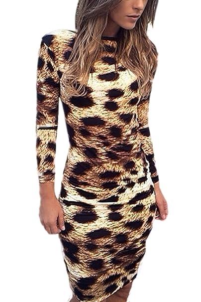 73cf45da9260 Le Donne Sexy Manica Lunga Festa Vestito Leopardato Bodycon  Amazon.it   Abbigliamento