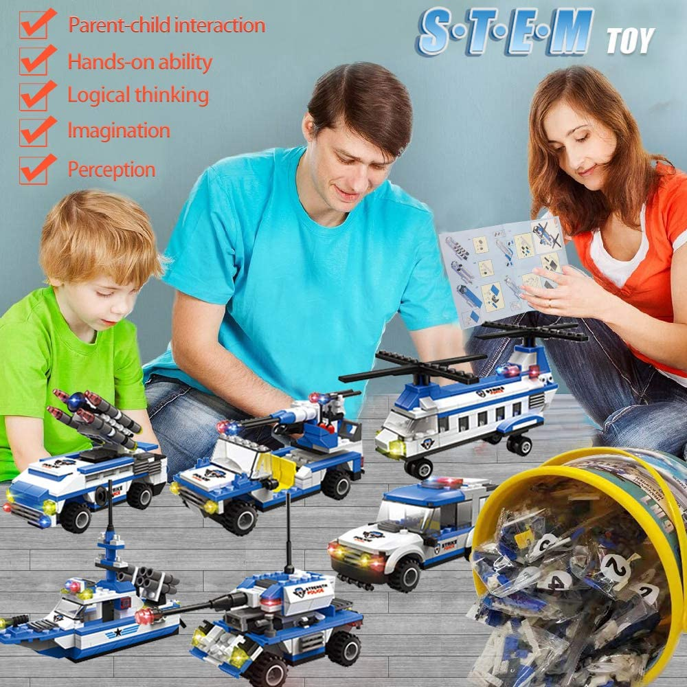Creative Educational Toys,Gift for Boys Girls 6-12 1230pcs City Police Military Building Kit,6 in 1 Ocean Patrol Boat Building Toy with Storage Bucket,Police Toy Sets with Helicopter Car Battleship