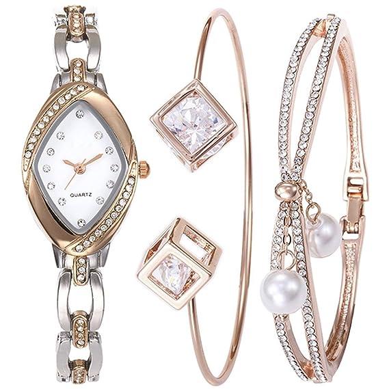 Wollways - Reloj de cuarzo con diseño de diamantes de imitación, con pulseras y brillantes, ideal como regalo para novia: Amazon.es: Relojes