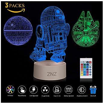 Veilleuse 3D Star Wars, ZNZ Lampe Illusion Étoile de le Mort + R2 D2 + Faucon Millenium, Trois Motifs et 16 Couleurs Changeantes Cadeaux parfaits