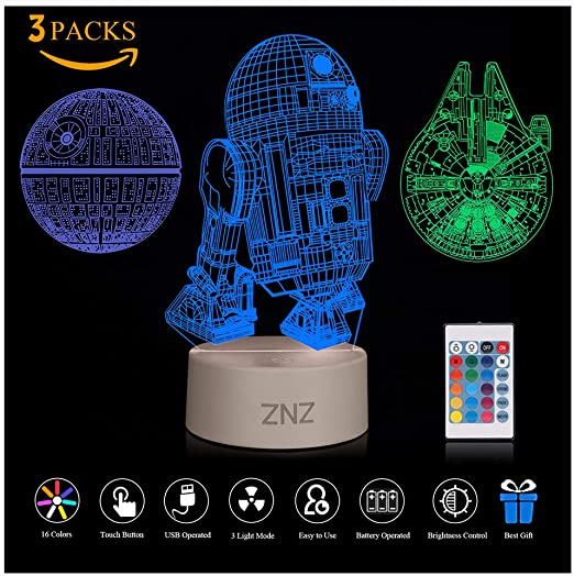 3D LED Nachtlichter Millennium Falke Star Wars Tischlampe Schreibtischlampe