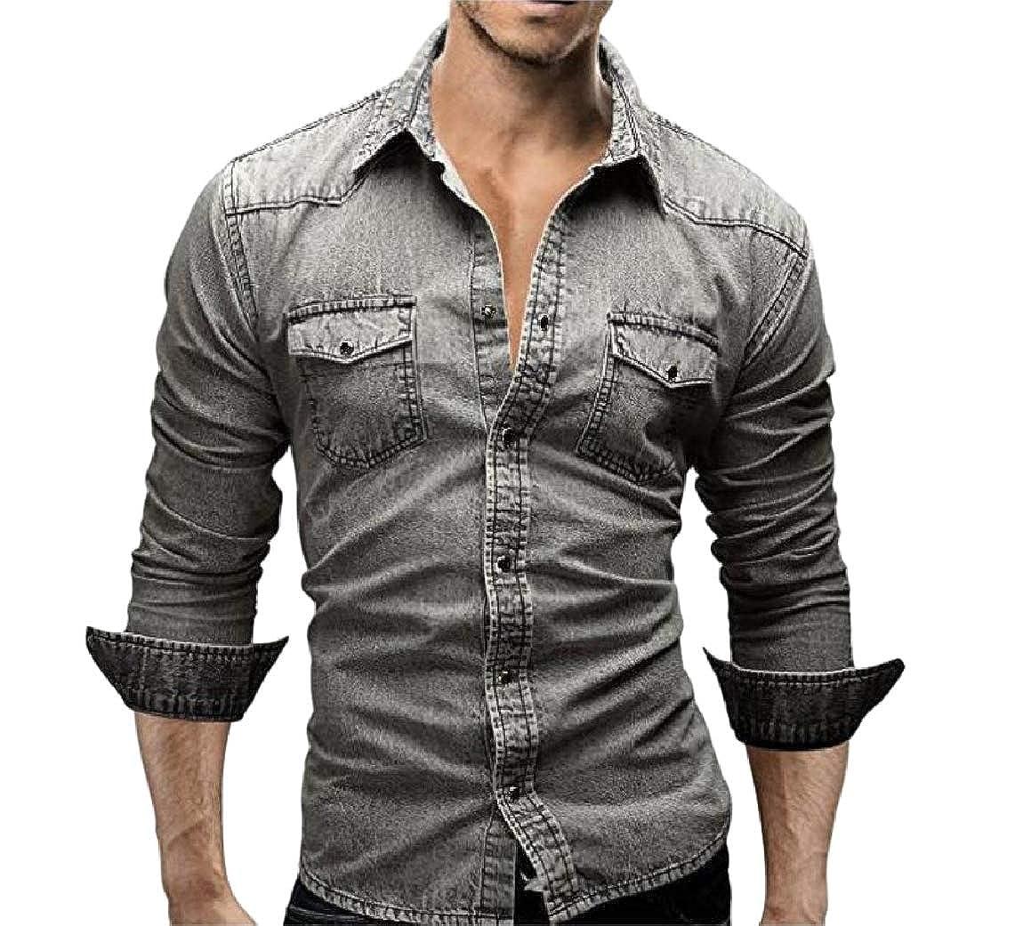 YUNY Men Rugged Wear Cowboy Spread Collar Long-Sleeve Western Shirt Light Grey S