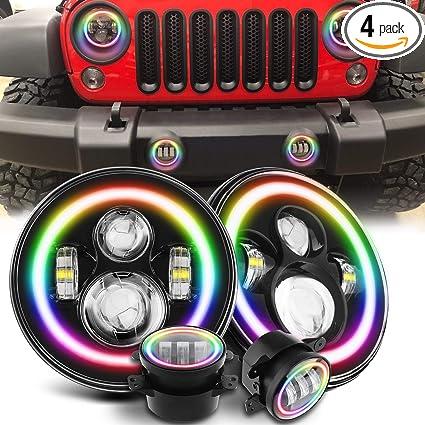 Jeep Halo Headlights >> Amazon Com Sunpie Jeep Wrangler Rgb Halo Headlight And Cree
