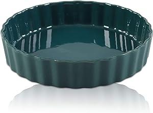 Ceramic Pie Dish, 9 inch Porcelain Pie Pan, Round Baking Dish, non-stick Oven Freezer and Dishwasher Safe for Dinner Pumpkin Apple Pie Pecan Pie - JH JIEMEI HOME