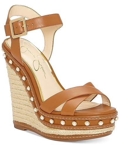 45d0803818 Jessica Simpson Aeralin Sun Tan Leather High Studded Platform Wedge Sandals  (9.5)