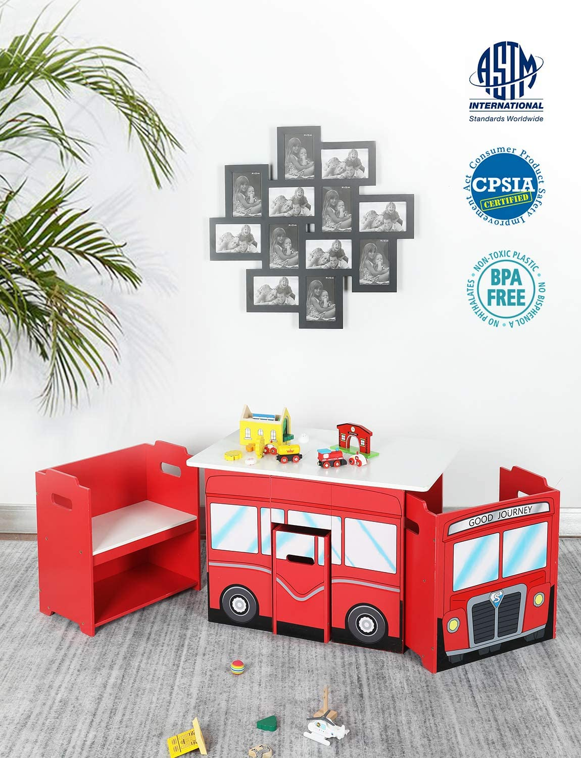 Red Bus Wooden Activity Table and Chair Set With Storage Bin