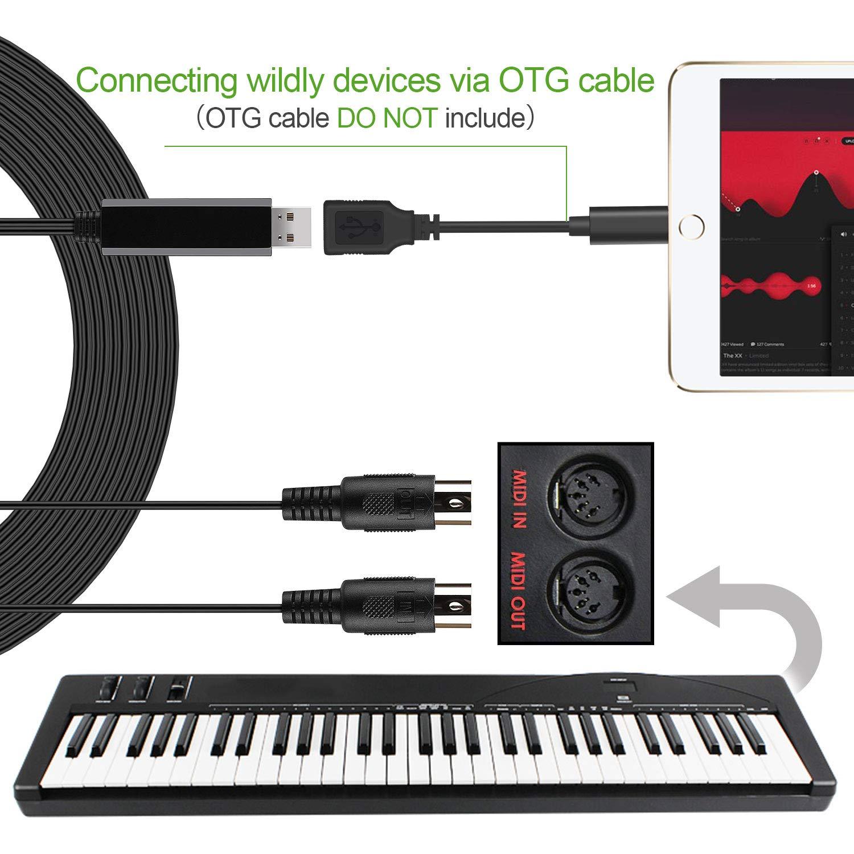 OTraki USB MIDI Cable interfaz Converter Para Instrumentos Convertidor de Música Eléctricos Electric Keyboard Piano Para PC Mac Laptop 5 PIN Connector: ...