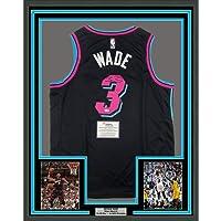 $999 » Framed Autographed/Signed Dwyane Wade 33x42 Miami Heat Black Vice City Basketball Jersey Fanatics COA