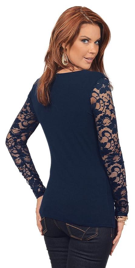 Hot from Hollywood Top de mujer de algodón, ajustado, de manga larga, diseño con encaje floral, escote en V - Azul - X-Small: Amazon.es: Ropa y accesorios