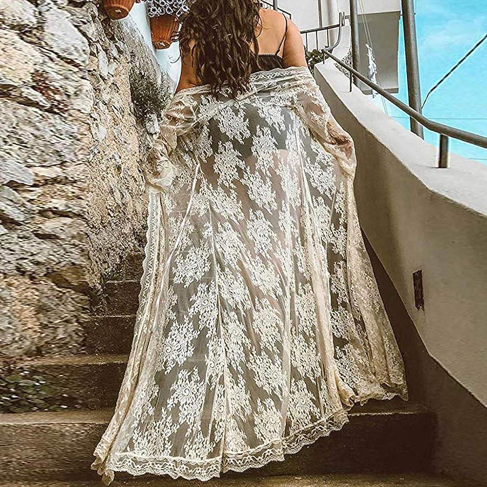 Batas Largas Cárdigan para Mujer Cordón Transparente Lenceria Ropa de Dormir Camisón de Encaje: Amazon.es: Ropa y accesorios