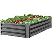 BCP 47x35.25x11in Outdoor Metal Raised Garden Bed for Vegetables, Flowers, Herbs (Dark Gray)