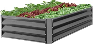 Best Choice Products 47x35.25x11in Outdoor Metal Raised Garden Bed for Vegetables, Flowers, Herbs, Plants - Dark Gray
