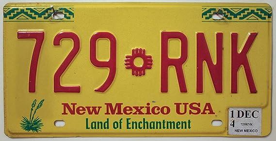Usa Auswahl Von Fahrzeugschildern New Mexico Nummernschild Autokennzeichen U S License Plate Usa Metall Schild Gelb Rot Auto
